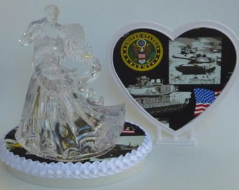 Wedding Cake Topper U.S. Army Themed Clear Couple Dancing Bride Groom First Dance Military Enlisted Troops Pretty w/ Bridal Garter Reception