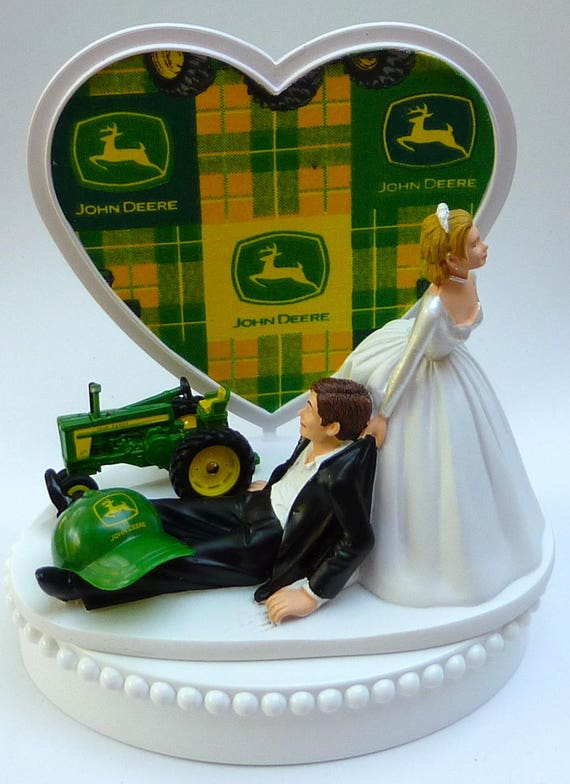 john deere tractor wedding cake toppers wedding cake topper deere green tractor themed w bridal 16602