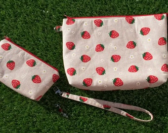 Strawberry Linen Project Bag Set, Knitting Project Bag, Crochet Project Bag, Notions Bag, Craft Bag, Zip pouch, Travel Bag, Craft Bags