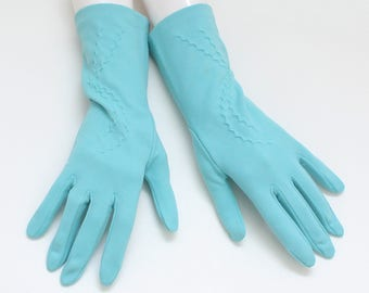 60s Robins Egg Blue Gloves - Deadstock Size 7 Vintage 1960s Womens Nylon Gloves