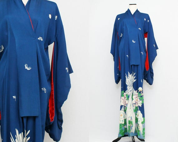 30s Blue Floral Kimono - Vintage 1930s Antique Dressing Robe