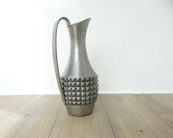 Vintage Pewter Jug Pitcher Norwegian Pewter Mastad Metal Work Mid Century 1960s Modernist Design