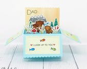 3D Birthday Card, Birthday Card Dad, 3D Fathers Day Card, Cute Bear and Cub, Handmade Greeting Card, Hand Stamped Cards, Lawn Fawn Card