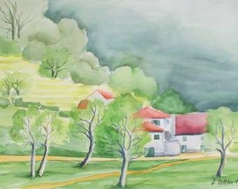 Hiding Place, Architecture Painting, Original Watercolor, Spring Painting, Landscape, Rural Architektur, Europe, Madeira