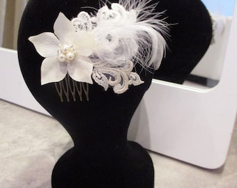 bronze flower bridal comb heart beaded, lace and feathers