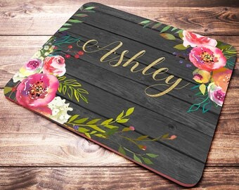 Personalized Mouse Pad, Monogram Mouse Pad, Watercolor Flowers, Pink Flowers Mouse Pad, Custom Name Mouse Pad, Name Mouse Pad