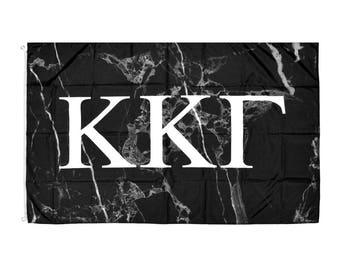 Kappa Kappa Gamma KKG Dark Marble Background White Letters Sorority Flag 3' x 5' kkg