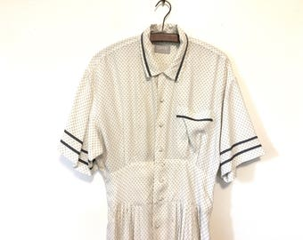 90s Does 40s Vintage Babydoll Dress / Short 40s Dress / Size Medium Dress