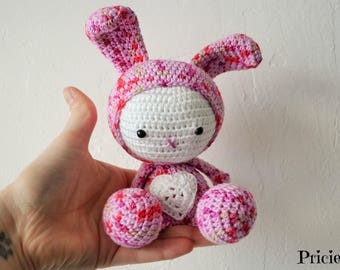 Little Rabbit camouflage crochet pink and white
