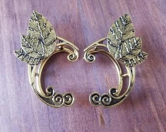 Elf Ears/Elf Ear Cuffs/Elegant Elven Ear Cuffs/Brass Metal Elf Ears/Elven Ears/Elegant Wedding Jewelry/Fairy Ear Cuffs/Mermaid Ear Cuffs