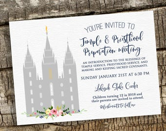 Temple and Priesthood Preparation, Baptism Invitation, Missionary Farewell, Personalized Baptism Invitation, Priesthood Preview, Watercolor