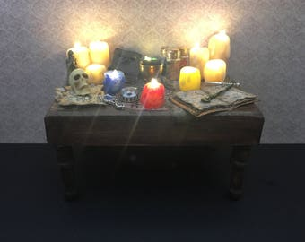 OOAK 1:12 scale Dollhouse Wiccan Witch's Altar Table with illuminating candles