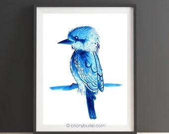 50% off EOFY SALE! -Free Post within Australia!- Kookaburra Illustration - Australian Art - Australian Bird Painting - Blue Decor