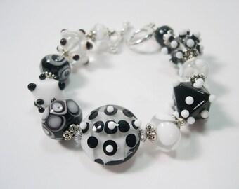 Lampwork bracelet,  Organic lampwork beads, Black and White Lampwork bracelet.