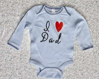 Father's Day I Love Day Blue Long Sleeve Thin Thermal Onesie
