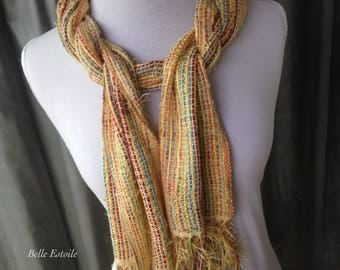 Easter Candy Handwoven Scarf, Yellow Scarf, Rainbow Scarf, Hand Woven Scarf, Woven Scarf, Handmade Scarf