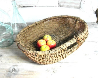Large French gathering basket, rustic farmhouse basket, wicker basket with handles, French vintage, French country decor, wall hanging.