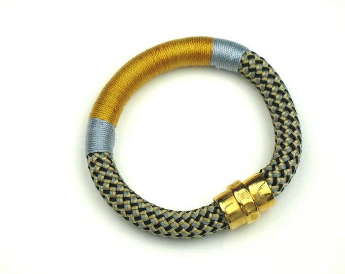 Rope Bracelet in Gold and Blue Wrapped Climbing Cord with Gold Magnetic Clasp