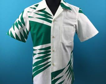 Retro cotton Kimono Hawaiian shirt, yukata fabric, Men, US size S