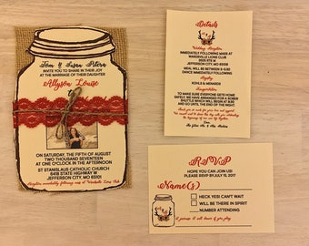 Photo Wedding Invitation mason jar with Red lace and twine