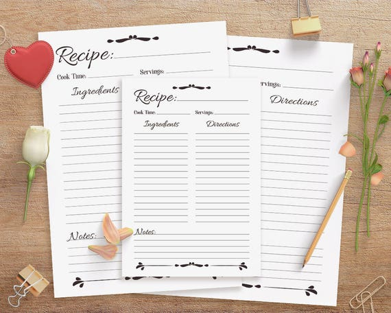 Recipe Sheet Printable Recipe Page Template Blank Recipe