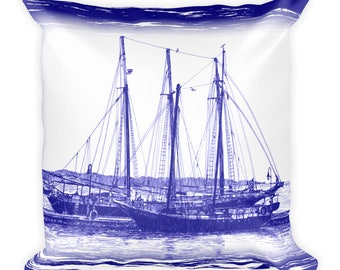 Blue Schooners Square Pillow