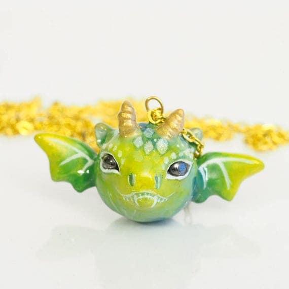 FULL MOON BABY, Dragon - Handmade Polymer Clay Sculpture