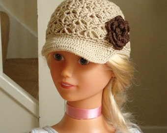 Brown beige Crochet Baby Hat, Crochet Girl Hat, handmade flower