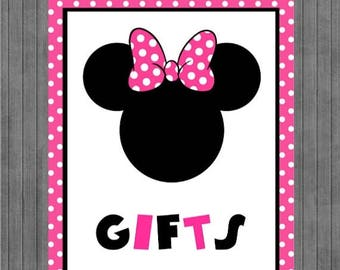FLASH SALE Minnie Mouse Birthday Sign, Gift Sign,  Hot Pink