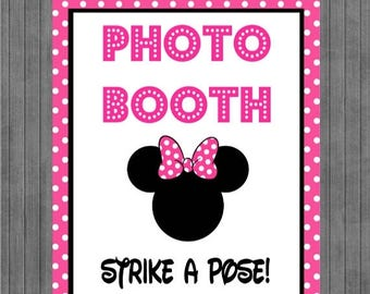 FLASH SALE Minnie Mouse Birthday Sign, Photo Booth Sign, Hot Pink