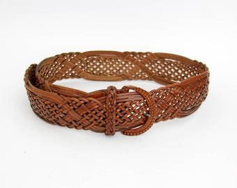 Vintage belt // leather woven belt
