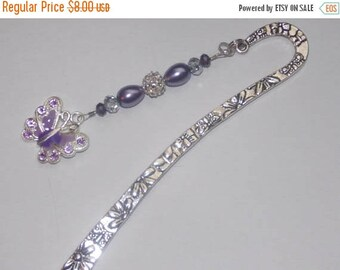 15%OFF Purple Glass Teardrop Clear Crystal Encrsted Silverplated Bead Enameled Purple Butterfly Bookmark