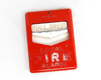 Vintage Metal Honeywell Fire Alarm Pull Station Retro Industrial Wall Decor Table Nick Nack Red White