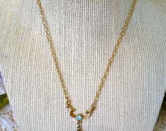 Blue Glass Shell  Pendant Necklace on Chain with Small Blue Rhinestone