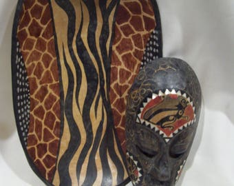 African Wood Bowl,Hand Carved and Painted Solid Wood Giraffe Zebra Bowl,African Carved Zambian,Hand Carved Tribal,Kenya