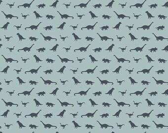 Fossil Tiny Dino Blue Knit, Fossil Rim, Denna Rutter, Riley Blake Fabrics, dinosaur fabric, dino, dinosaur knit, boy fabric by the yard