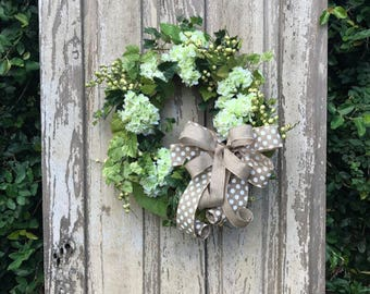 white hydrangea wreath,Spring wreath,Double door wreath,door Wreath, All Year Wreath, Everyday Wreath, all season wreath, year round Wreath,