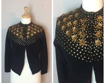 Vintage Gold sequin beaded 50's Cardigan