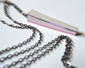Pink and purple concrete necklace