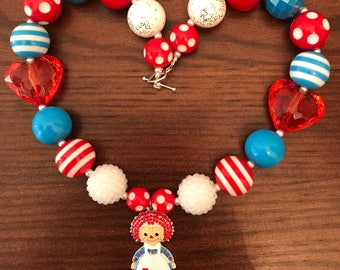 Raggedy Ann Chunky Bubble Gum Necklace (Child/Toddler).