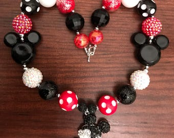 Mickey or Minnie Mouse Head Disney inspired Chunky Bubble Gum Necklace and Bracelets (Child)