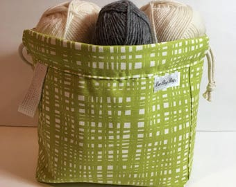 All new completely lined canvas/denim drawstring bag with handle -bright green fabric with neutral lining