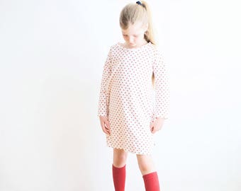 nightdress girl organic cotton white red hearts,girls nightdress,girl night gown,organic kids nightwear,organic nightdress,girls robe white