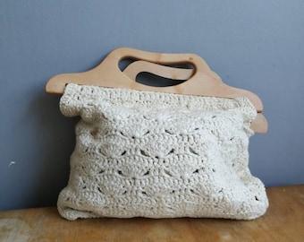 70s vintage macrame knitting bag / boho 70s top handle bag