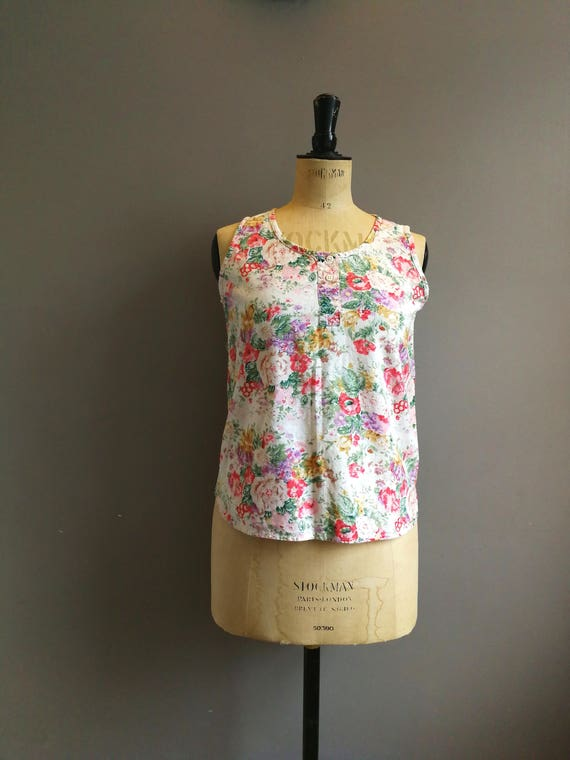 90s floral cotton vest / boho floral top / 90s sleeveless top / boho grunge cotton tank / white floral top / 90s style
