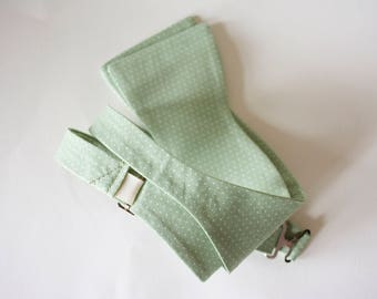 sage green tie,sage green and ivory dots cotton fabric,sage green and dots,sage green weddings,sage green