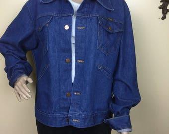 Vintage 70s  jean Jacket , Worn in  Denim Jacket ,1970s Hippie Denim