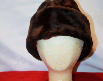 Vintage Brown Fur Hat, X-Lg, 7 1/2-7 5/8