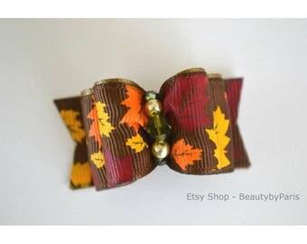 "Autumn Foliage 7/8"" Dog Bow"