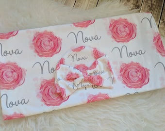 Personalized baby name rose newborn hat and swaddle blanket set: baby and toddler personalized name newborn hospital gift baby shower gift